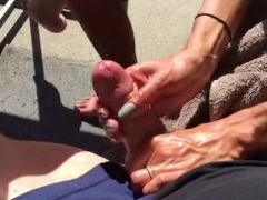 Oiled up handjob blowing my load on the patio