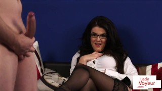 Stockinged english voyeur instructs on couch Boobs vaginal