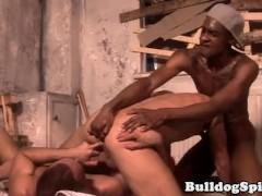 Fingered interracial bloke cockriding in trio