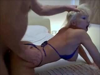 Blue Bikini gets a hardcore workout fucking and sucking bareback