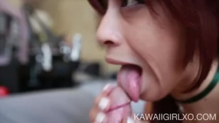 Teen Sucks Cock And Receives An Oral Creampie Fingering female