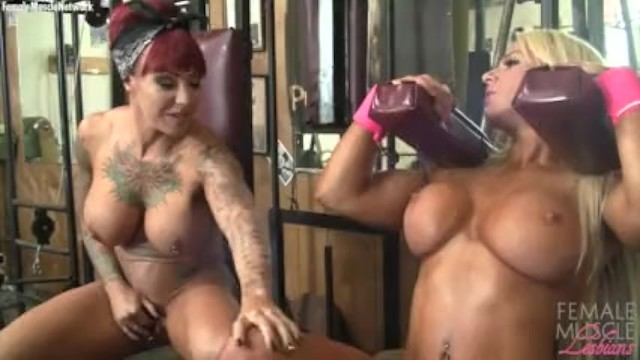 Redhead sports Dani andrews and megan avalon in the gym cant stop touching each other