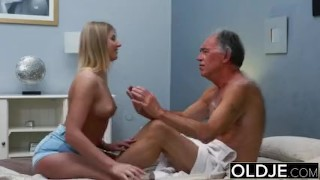 Preview 5 of Blonde Teen Fucked By Hairy Old Man she loves getting sex blowjobs and cum