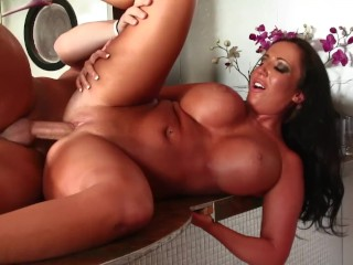 Maggie Star Porn Fucking, Chubby MILF Fucks Husbands Friend In The Kitchen Big ass Big Tits Brunette MILF