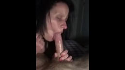 Cum slut gives hot sloppy blowjob and swallows