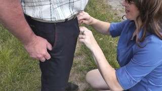 Man pisses woman holds hands his dick close up. DuBarry private collection