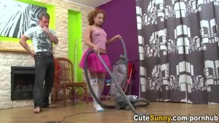 Cute Sunny - Teeny vacuums cock with her mouth