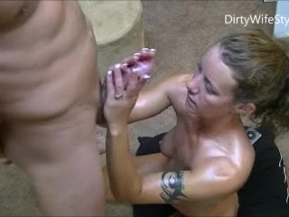 Preview 3 of Hotwife gives 2 handjobs to husband while telling him about her gangbangs