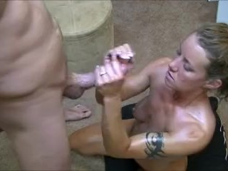 Preview 6 of Hotwife gives 2 handjobs to husband while telling him about her gangbangs