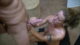 Hotwife gives 2 handjobs to husband while telling him about her gangbangs porno