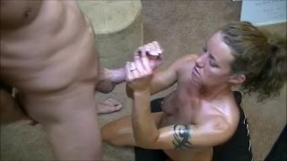 Hotwife gives 2 handjobs to husband while telling him about her gangbangs Hd drool