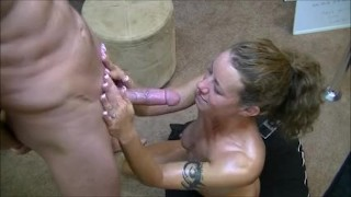 Hotwife gives 2 handjobs to husband while telling him about her gangbangs Cum cumshot