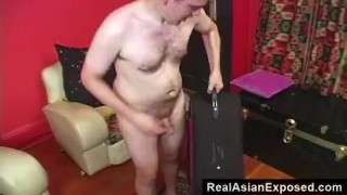 RealAsianExposed - Petite Asian in a suitcase. handjob point of view amateur blowjob babe fingering shaved realasianexposed small tits closeup doggy style small boobs petite