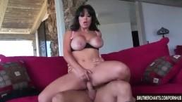 Sexy brunette MILF fucks hard