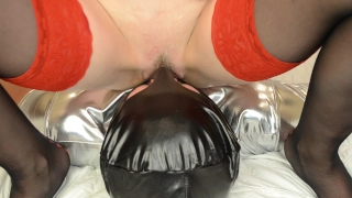 Femdom handjob, cum on pussy, facesitting and licking cum from pussy