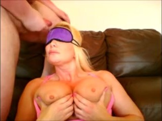 Blindfolded Blonde gets a Facial