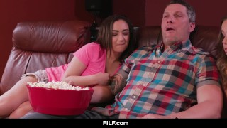 FILF - Liza and Lily share stepdad's dick during a boring movie Interracial fuck