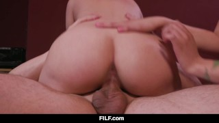 FILF - Liza and Lily share stepdad's dick during a boring movie Whore bbc