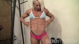 Female bodybuilder shows off her mature fbb muscles