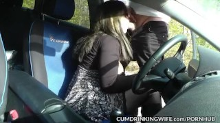 Dogging car sex gangbangs with Slutwife Marion Licking tits
