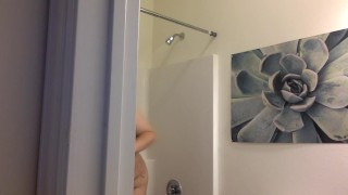 SPY ON MY SHOWER! big boobs chubby bathroom spy cam big tits bbw teen