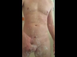 Shower and a shave solo male masterbation