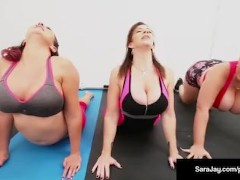 Sara Jay, Gia Love, & Angelina Castro Do Some Lesbian Yoga!