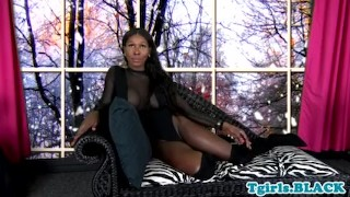 Black trans babe ass up face down jerking off Oil male
