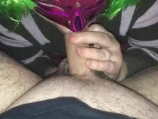 Sucking hubbys Balls very horney wife