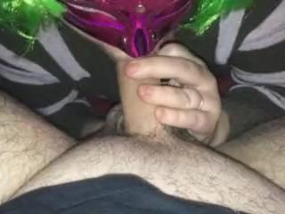 Sucking hubbys Balls very horney wife