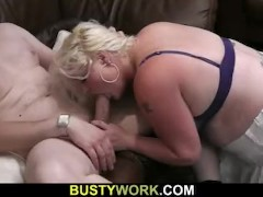 Gorgeous blonde fatty gets doggystyled