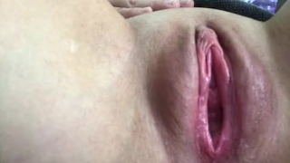 Close up of pulsating pussy orgasm : I taste my new dildo Teenager horny