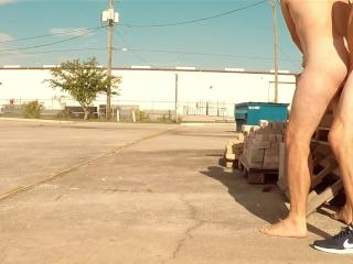 Public outdoor raw fuck (college jock bareback sneakers creampie cum fart)