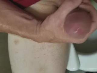 I shoot a huge load of hot cum in bathroom at work