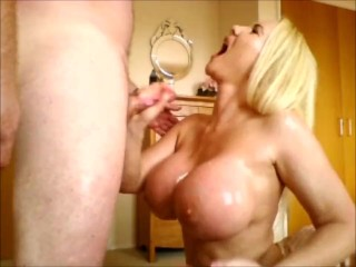 Oily handjob titwank and cumming all over my 34JJ tits