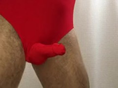 Red Cock-sleeve Leotard + Crotchless Pantyhose + Cum Shot
