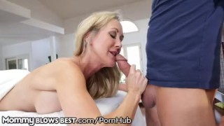 Brandi Love lets Stepson Finish in her Hot Mouth Sucking curvy