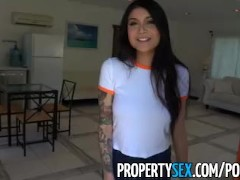 PropertySex - Hot Asian tenant with big tits fucks her landlord