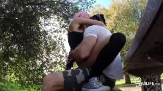 SinsLife -  School Girl Quickie Fuck and Swallow in Public Park