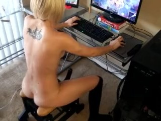 Ginger Banks Playing League of Legends While Fucking Herself
