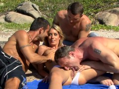Blonde Teen Slut Gets Hardcore Rough Anal Gangbang On Beach