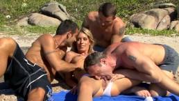 Blonde Teen Slut Gets Hardcore Rough Anal Gangbang On Beach