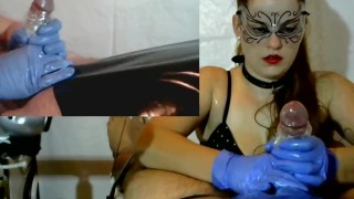 Femdom Cock Tease , Cock Massage - Latex Gloves, Chain, PVC, Brush  point of view plastic bag femdom milking denial slave bdsm redhead amateur cumshot cum gloves orgasm collar pip cock torture tied handjob milking