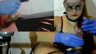 Femdom Cock Tease , Cock Massage - Latex Gloves, Chain, PVC, Brush denial redhead cock torture collar point of view plastic bag amateur slave cumshot bdsm gloves pip orgasm femdom milking cum tied handjob milking