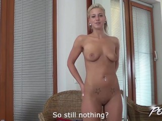 Povbitch Busty Nathaly Cherie and her first audition to porn ever