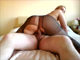 Big Phat Ass rides the cock ripped nylons