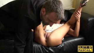 Skank playing british with choked sextoy rough masturbation