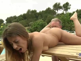 Tighty Body Young Girl Fucked Grandpa Sucked his Old Cock and Licked pussy