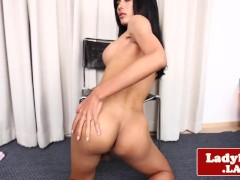 Alluring bigtitted ladyboy wanks cock solo