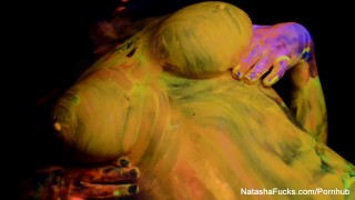 Preview 5 of Blacklight tease and BTS with busty Natasha Nice